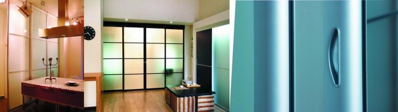 Межкомнатные раздвижные и стационарные перегородки из профиля Серии 100 на заказ для дома и офиса.